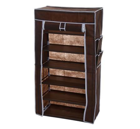 Тканевый шкаф для обуви 6 ярусов, кофейный, 60 х 28 х 105 см