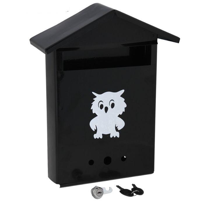 Купить почтовый ящик с замком-щеколдой в виде домика, черный 36 х 28 х 10 см