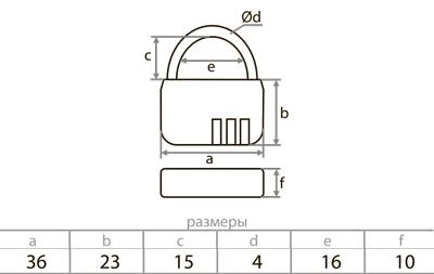 Кодовый навесной замок для чемодана 3,6 x 2,2 см, голубой
