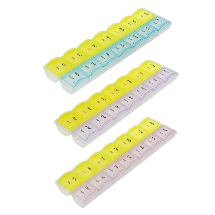 Купить органайзер для таблеток на неделю 2 приема 17,5 х 5,5 см