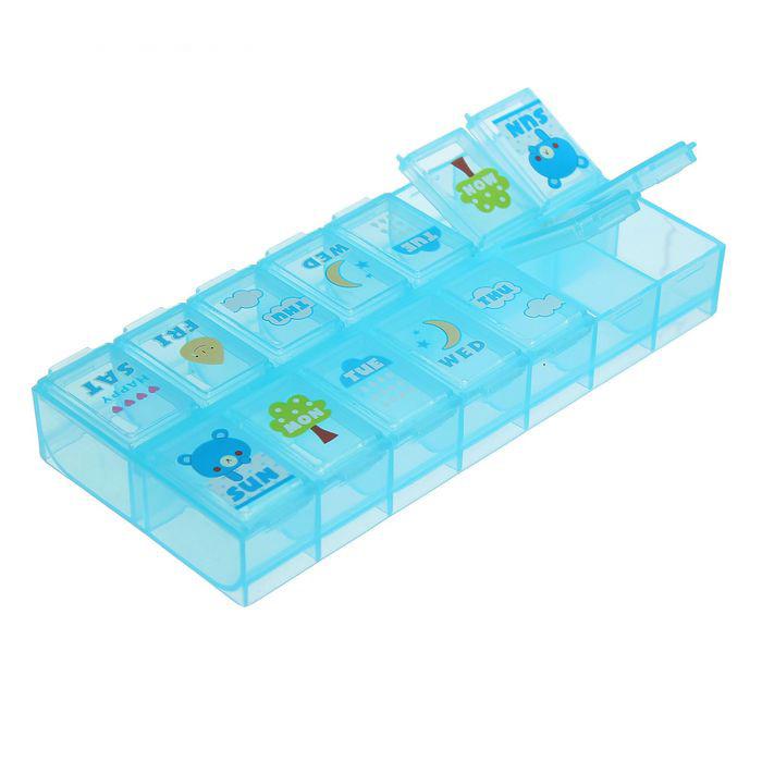 Купить органайзер для таблеток на 2 приема с рисунками 6 х 13 х 2 см