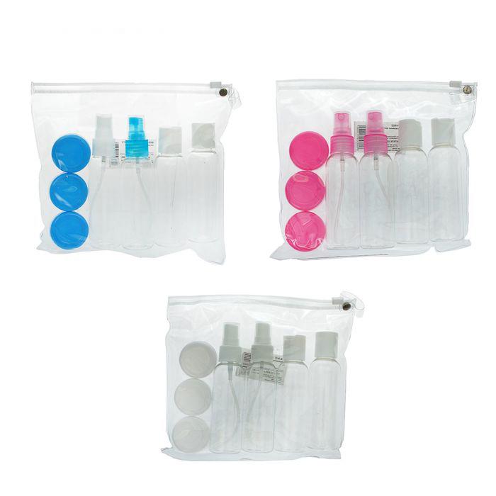 Набор для хранения лопатка, 4 бутылочки по 60 мл и 3 баночки по 8 мл в чехле, разные цвета