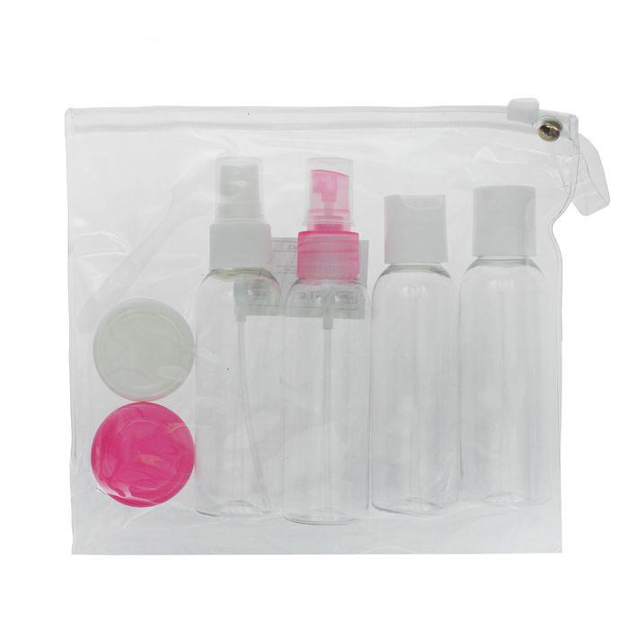 Набор для хранения лопатка, 4 бутылочки по 60 мл и 2 баночки по 10 мл в чехле, разные цвета