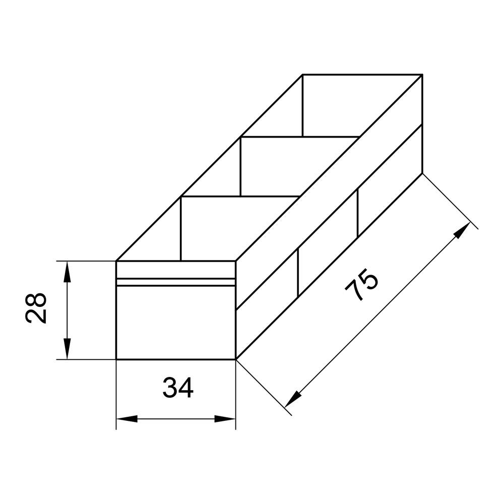Органайзер для багажника, 3 секции, 75 х 34 х 28 см