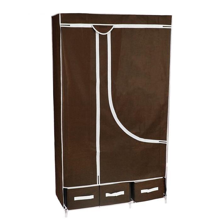 Купить тканевый шкаф на 3 ящика кофейный 95 x 45 x 165 см