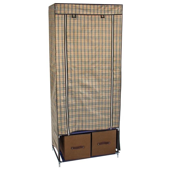 Тканевый шкаф 75x45x175 см, 2 ящика, в клетку