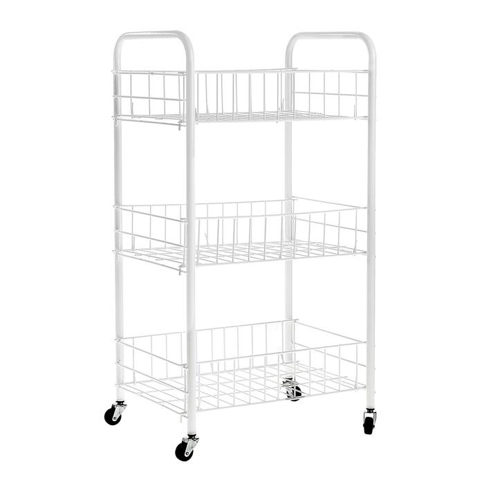 Купить этажерку на 3 секции белый на колесах 36 x 27 x 60 см