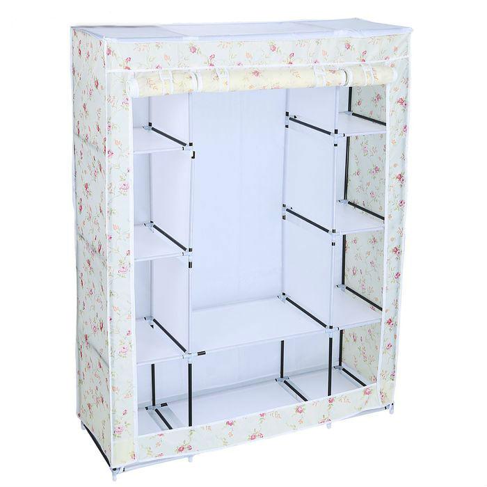 Тканевый шкаф для одежды Маджорити белый цветок, 130 x 45 x 175 см