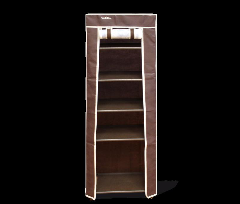 Стеллаж на 5 полок с чехлом, коричневый, 48 x 32,5 x 137 см