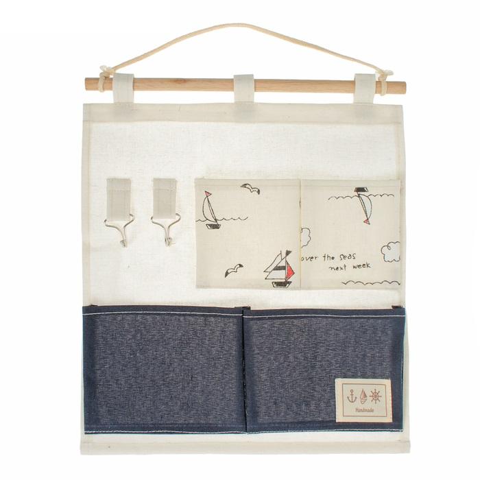 Подвесной органайзер с карманами на 4 отдела 30 x 35 см, разные цвета