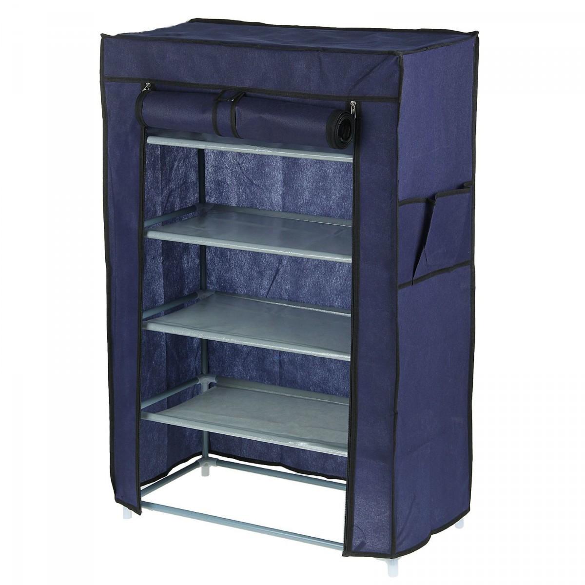 Купить тканевый шкаф для обуви на 5 полок синий 60 х 28 х 90 см