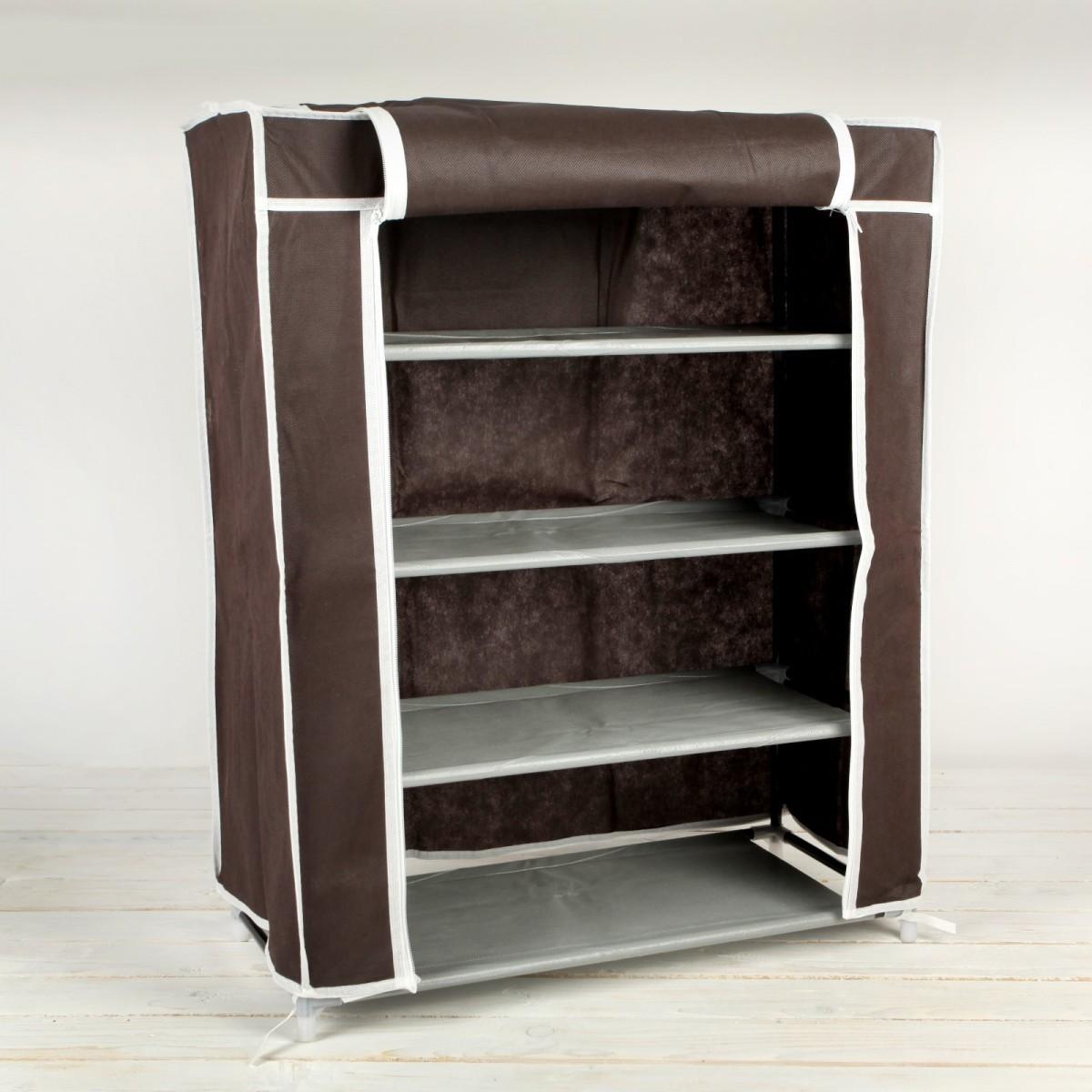 Тканевый шкаф для обуви на 4 полки, кофейный, 60 х 28 х 72 см