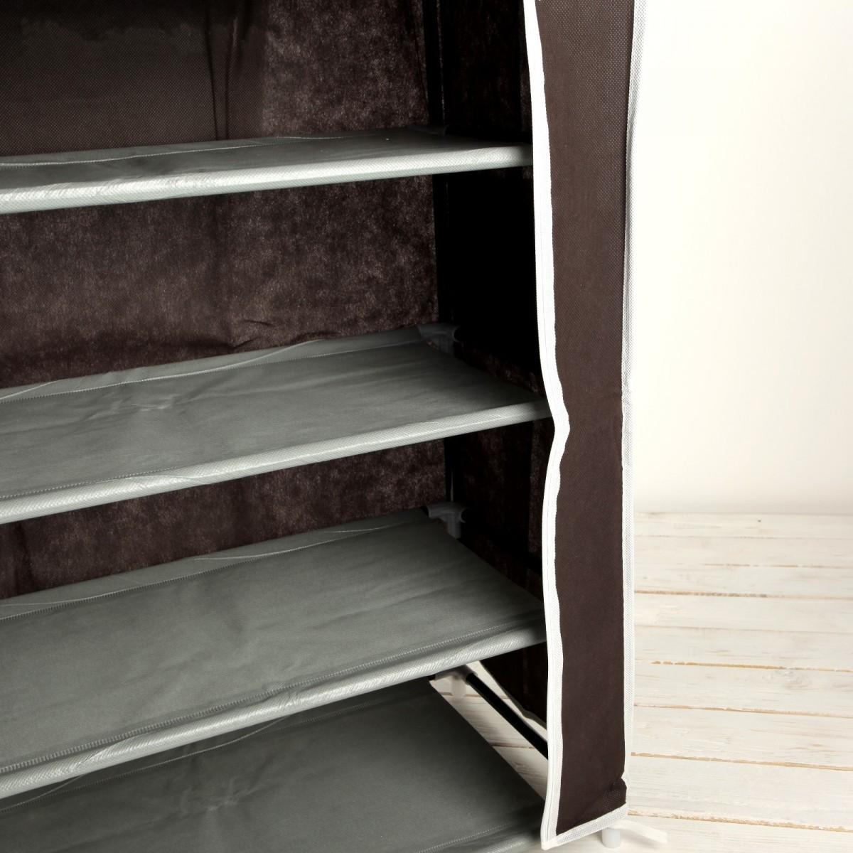 Тканевый шкаф для обуви, 4 полки, кофейный, 60 х 28 х 72 см