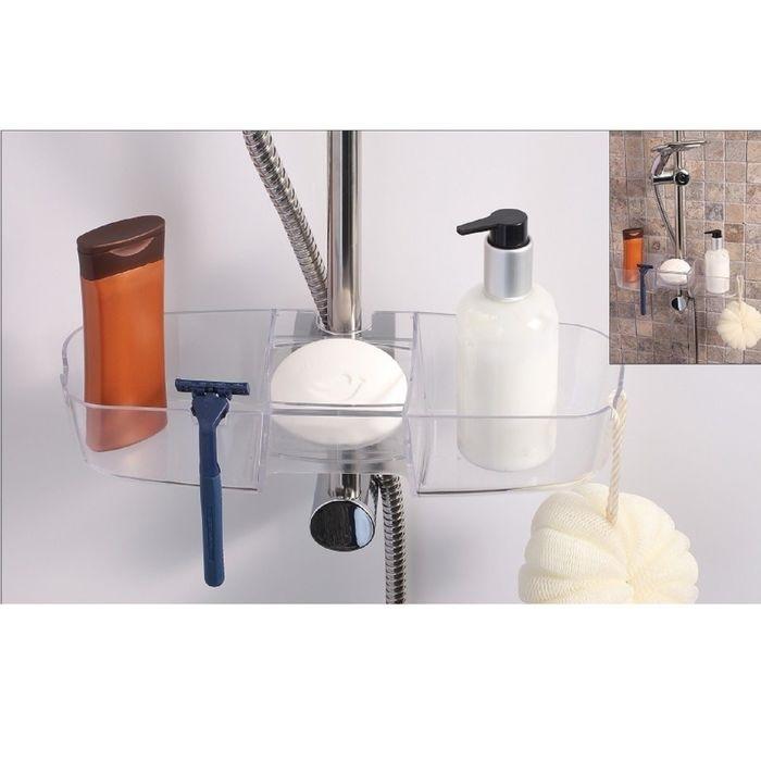 Купить полочку на душевую штангу для шампуней и ванных принадлежностей белый
