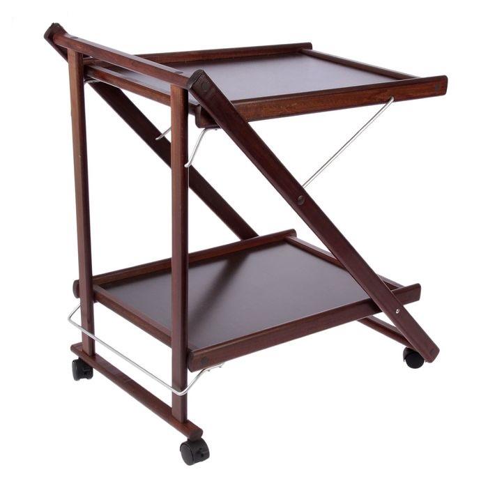 Купить складной сервировочный столик коричневый