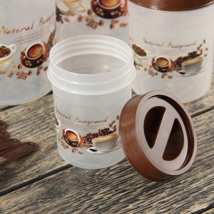 Купить набор банок для хранения с ложками Coffe 4 шт