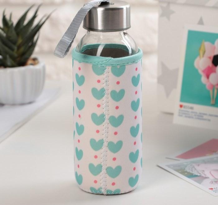 """Купить Бутылка для воды """"Sweet"""", в чехле, 300 мл,  6 х 6 х 17,5 см"""