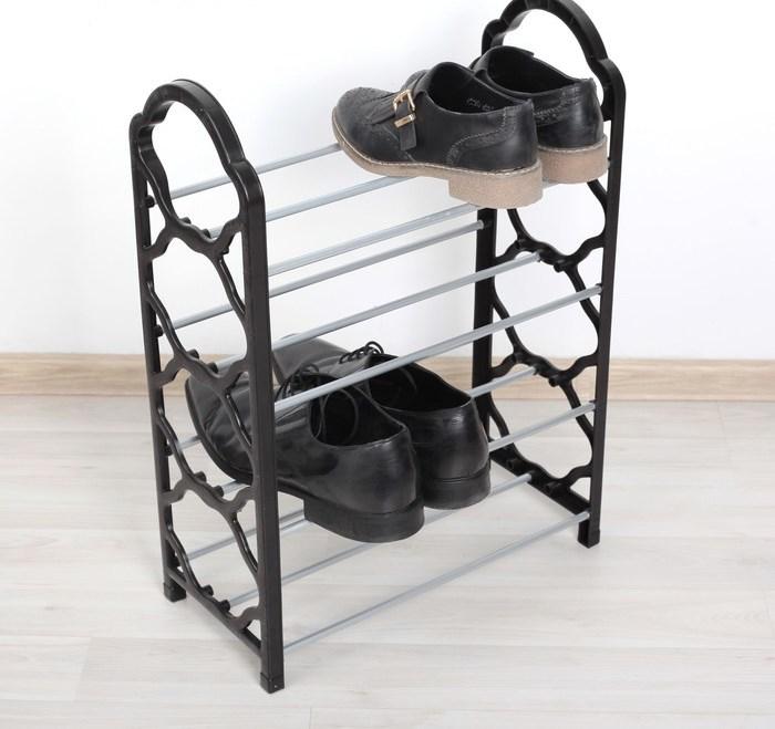 Купить полку для обуви 4 яруса черный 42 х 19,5 х 58 см