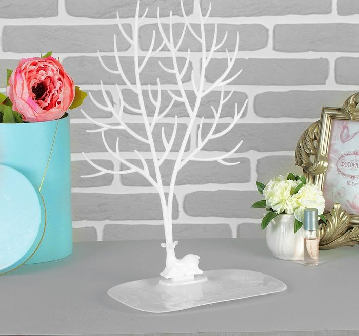 """Купить Подставка для украшений """"Дерево"""", белый, 25 х 15 х 41 см"""