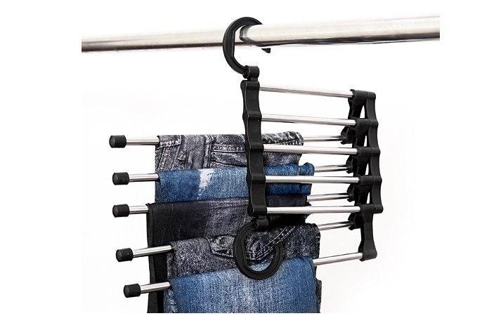 Вешалка раздвижная для брюк на 5 спиц 34 x 18 x 17 см, черная