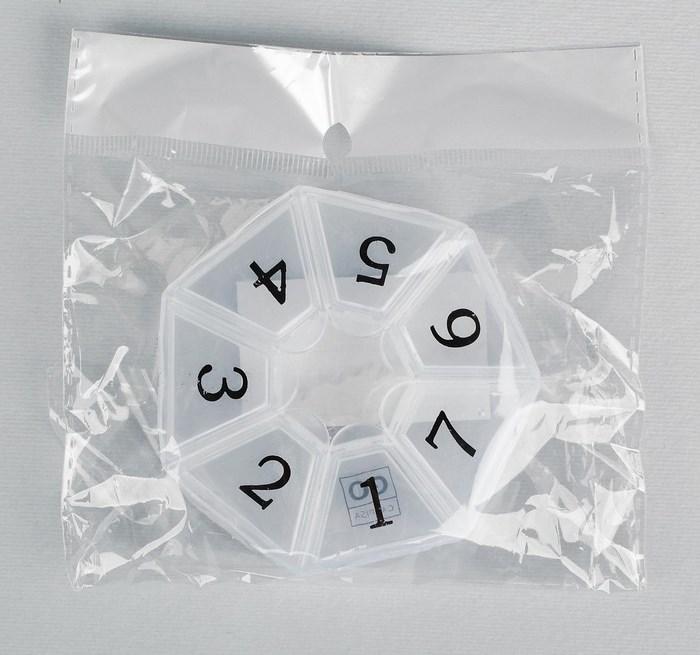 "Купить Таблетница ""Цифры"", 7 секций, 7,5 х 7,5 х 2 см"