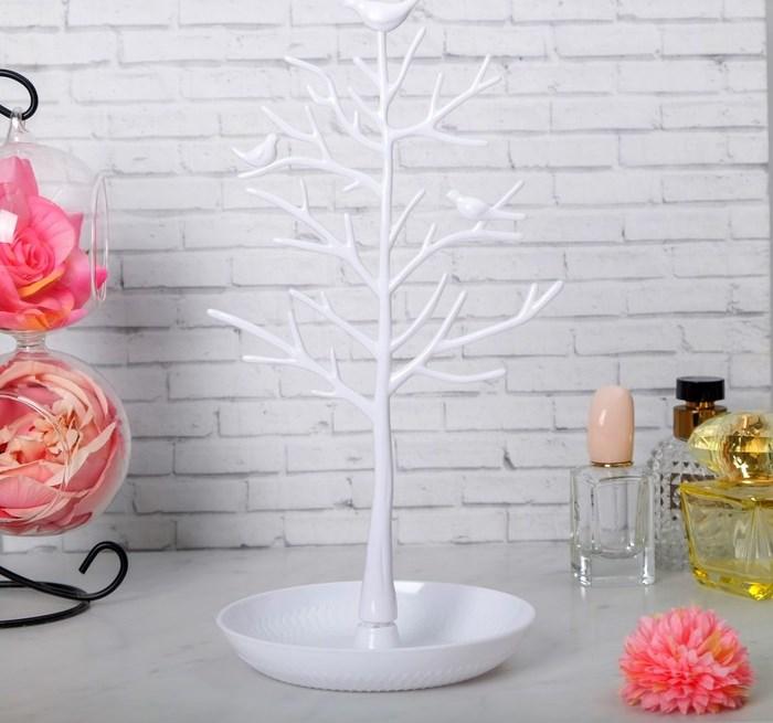"Купить Подставка для украшений ""Птицы на дереве"", белый, 15,5 х 15,5 х 32 см"