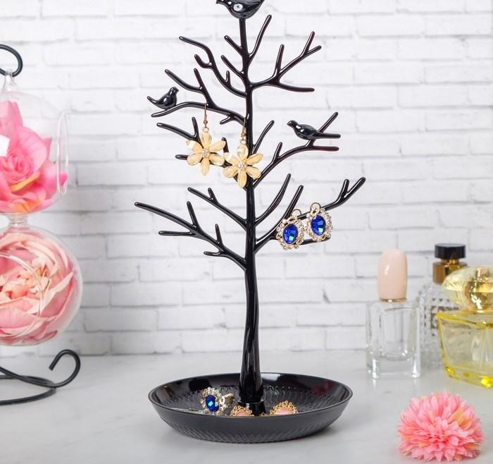 """Купить Подставка для украшений """"Птицы на дереве"""", черный, 15,5 х 15,5 х 32 см"""