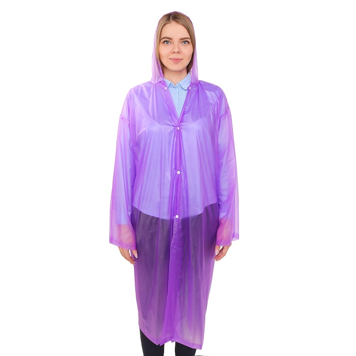 Купить Дождевик-пончо взрослый, универсальный, фиолетовый