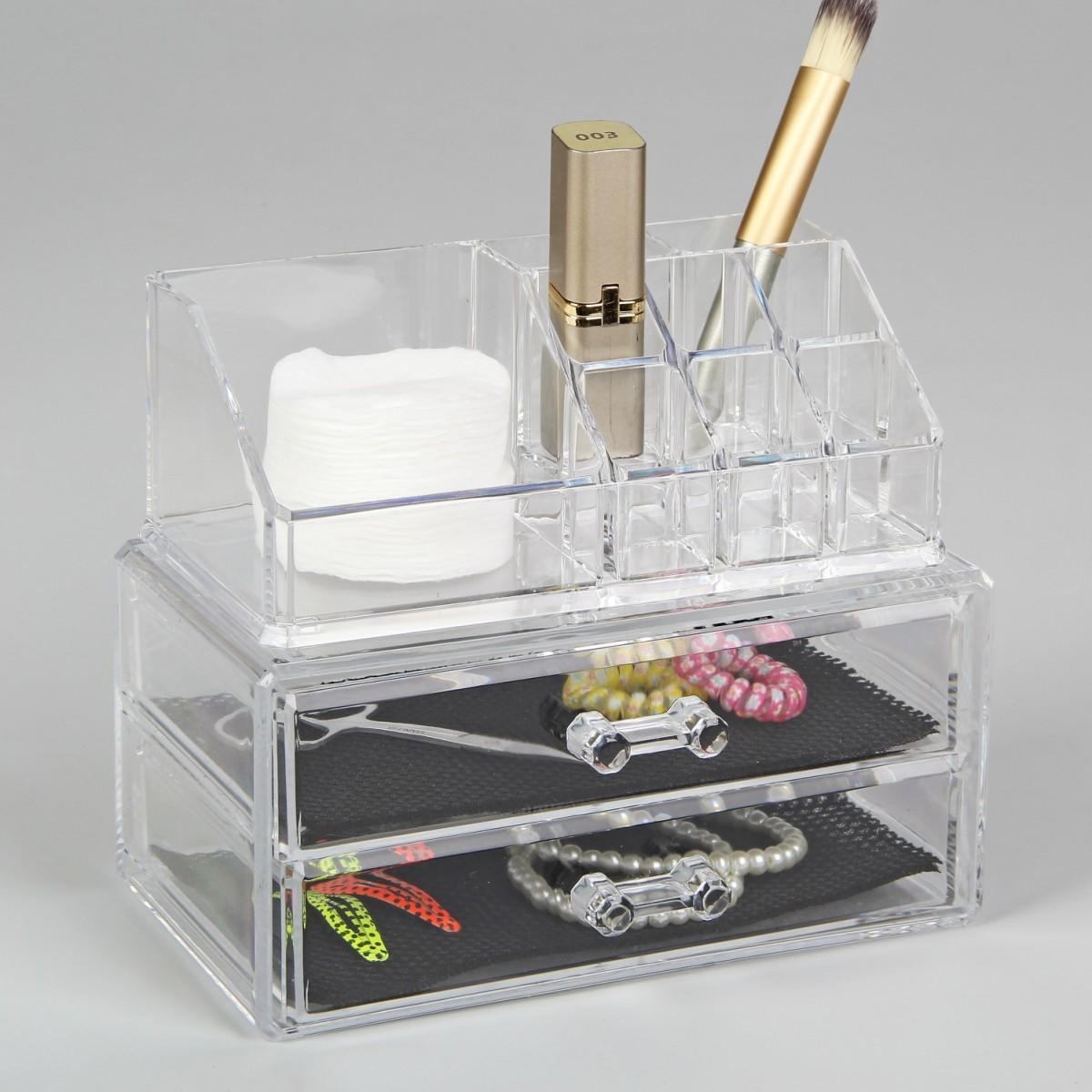 Органайзер для косметики на 11 секции с двумя ящиками, 16 х 10,5 х 18,5 см