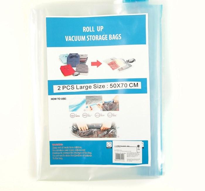 Купить Пакет вакуумный для вещей, скручивающийся, 70 х 50 см