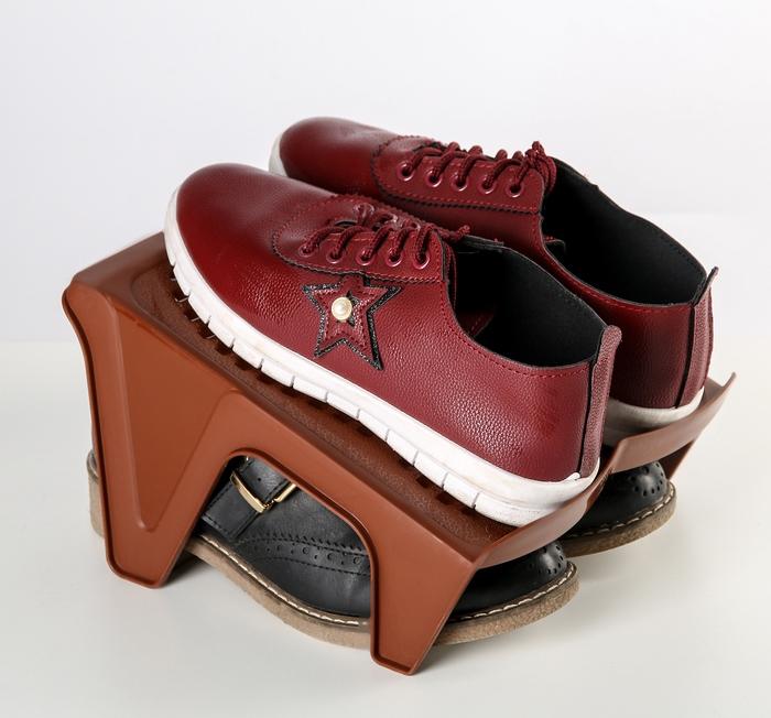 Купить Подставка для обуви на две пары, коричневый, 25 х 21 х 14 см