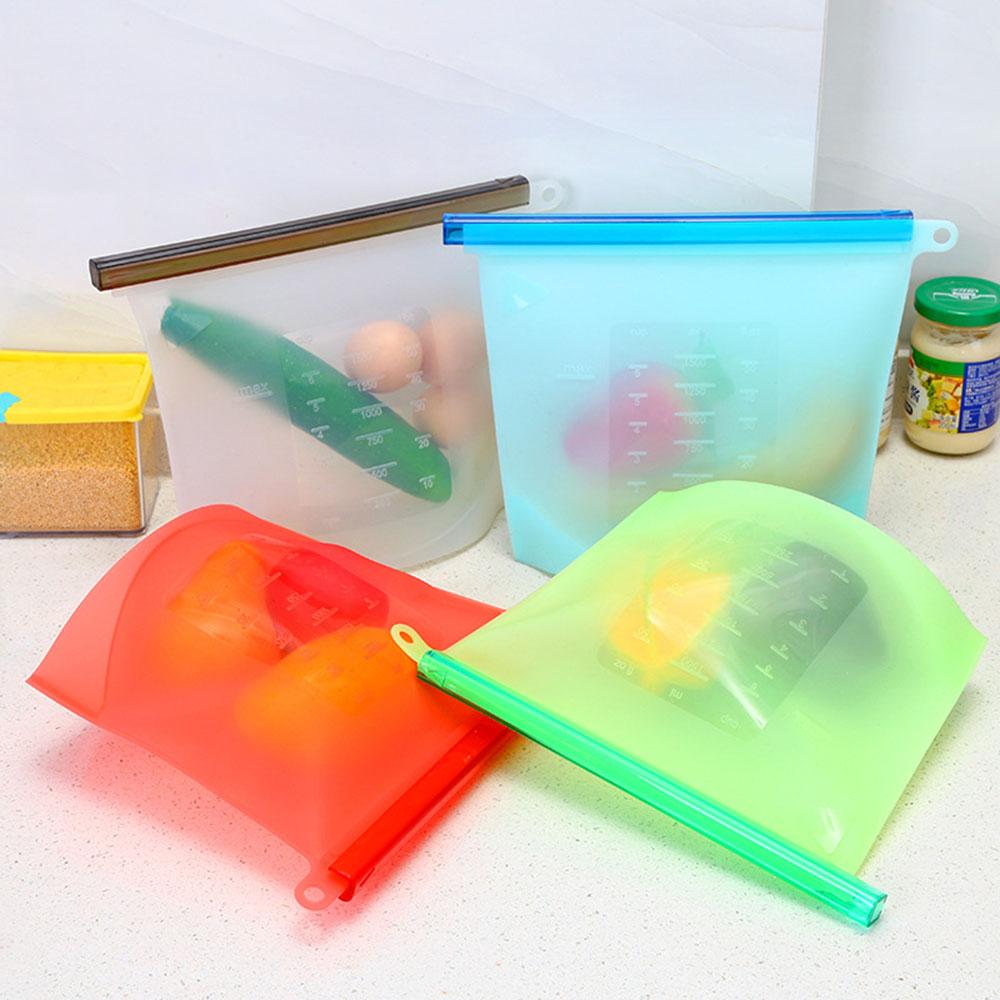 Купить Силиконовый герметичный пакет для хранения продуктов, 1 л, 22 x 18 x 2,5 см