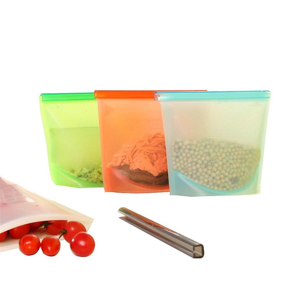 Силиконовый герметичный пакет для хранения продуктов, 1 л, 18 x 2,5 x 22 см