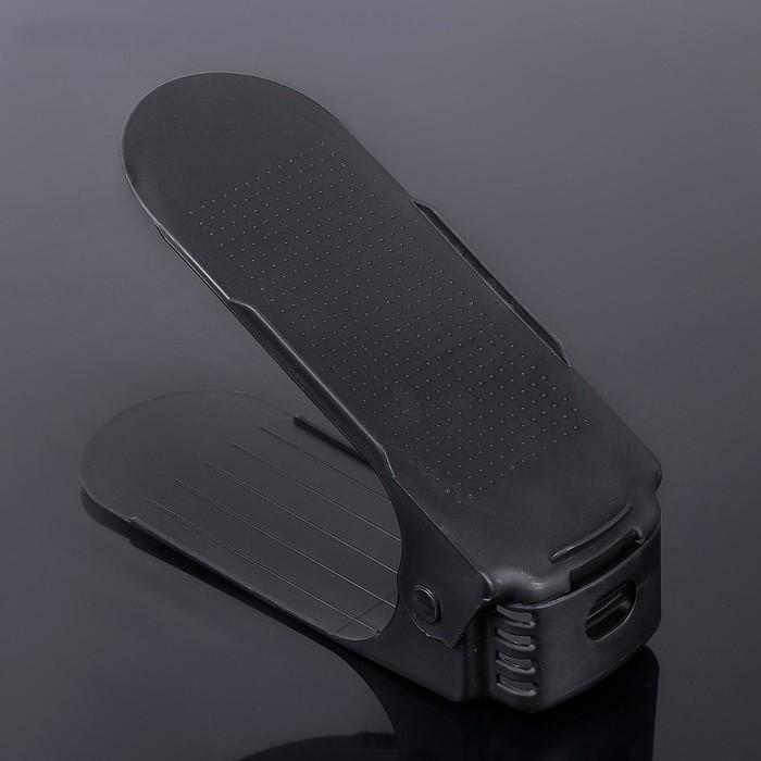 Подставка для обуви на одну пару, модель 1, черный, 25 х 9 х 10-18 см