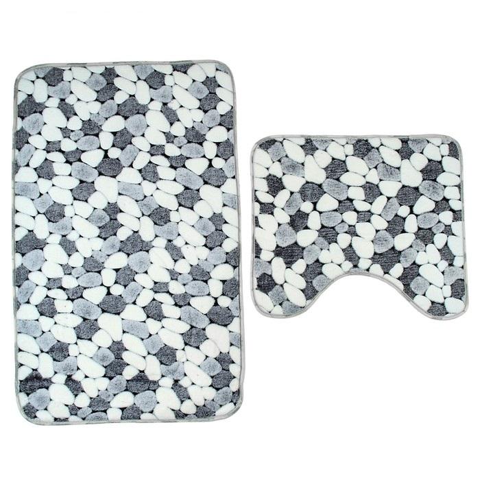 Набор ковриков для ванной и туалета «Камни», серый, 80 x 50 x 1 см