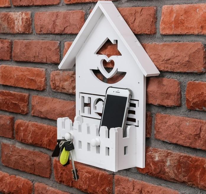 """Ключница с полкой """"Home"""", белая, 24 × 35,5 × 6 см"""