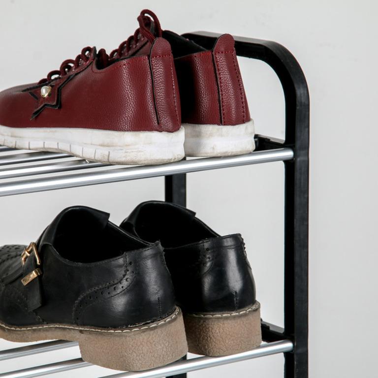Купить полку для обуви 4 яруса черную 42 х 19 х 55 см