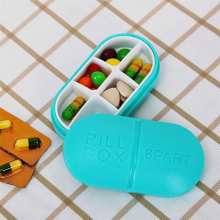 Купить органайзер для таблеток капсула на 6 приемов 10 х 5,5 х 3 см