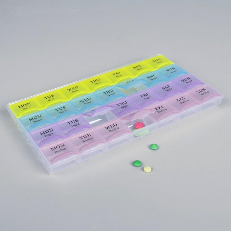 Купить органайзер для таблеток 4 приема 21,5 х 12 см