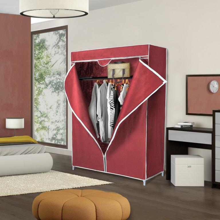 Купить тканевый шкаф бордовый 90 x 45 x 155 см