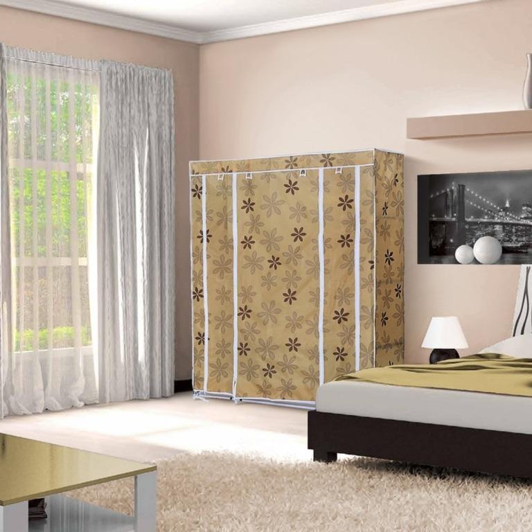 Купить тканевый шкаф для одежды Маджорити бежевый цветок