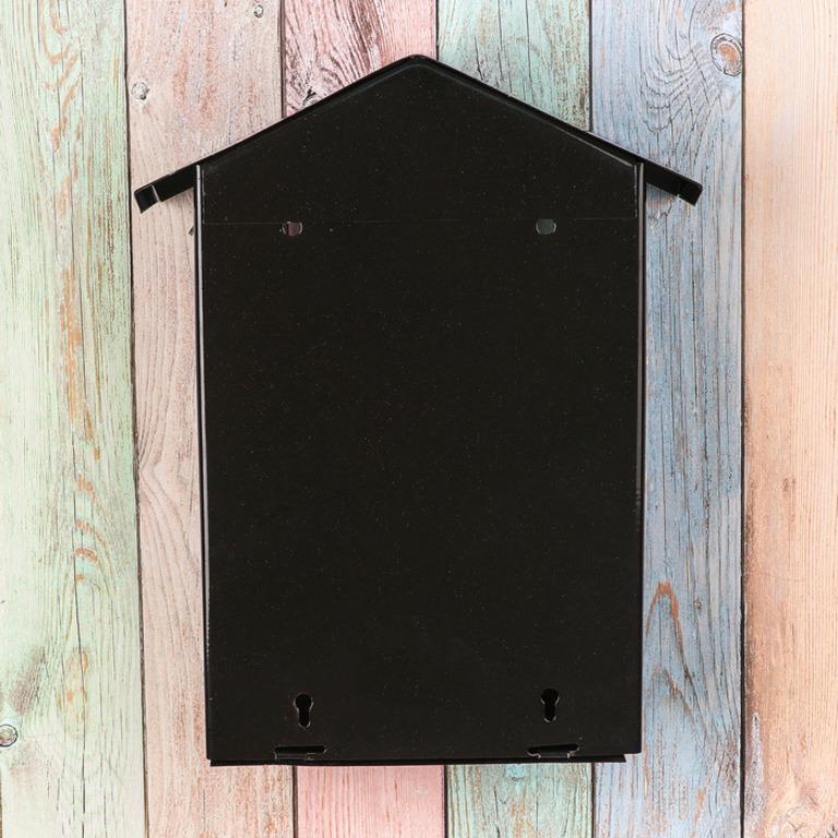 Почтовый ящик с замком-щеколдой в виде домика, черный, 36 х 28 х 5 см