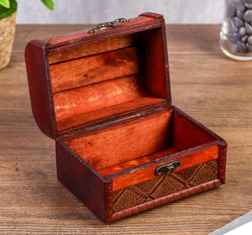 Купить деревянную шкатулку Винтаж коричневый 13,8 x 9,7 x 9,4 см