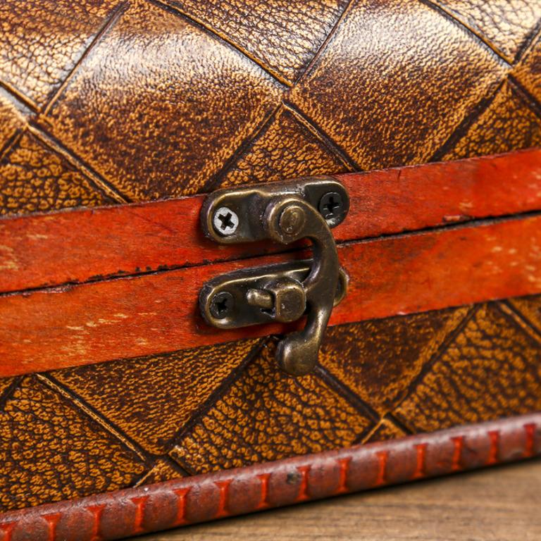 Деревянная шкатулка «Винтаж», коричневый, 13,8 x 9,7 x 9,4 см