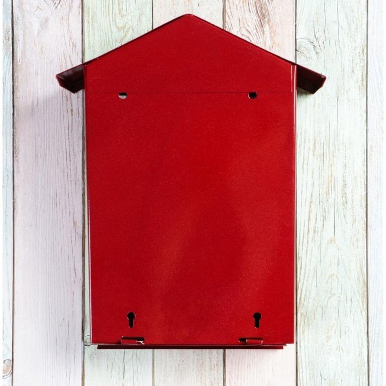 Почтовый ящик с замком-щеколдой в виде домика, вишневый, 36 х 28 х 5 см