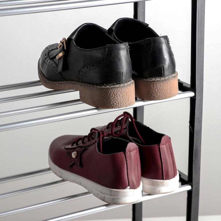 Купить полку для обуви 4 яруса черный