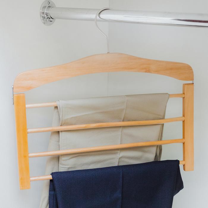 Купить вешалку для брюк деревянную 4 перекладины