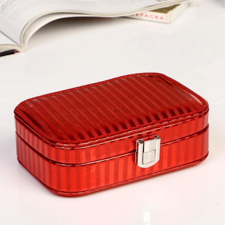 Купить шкатулку для украшений Lines красный 15 х 10 x 4,5 см