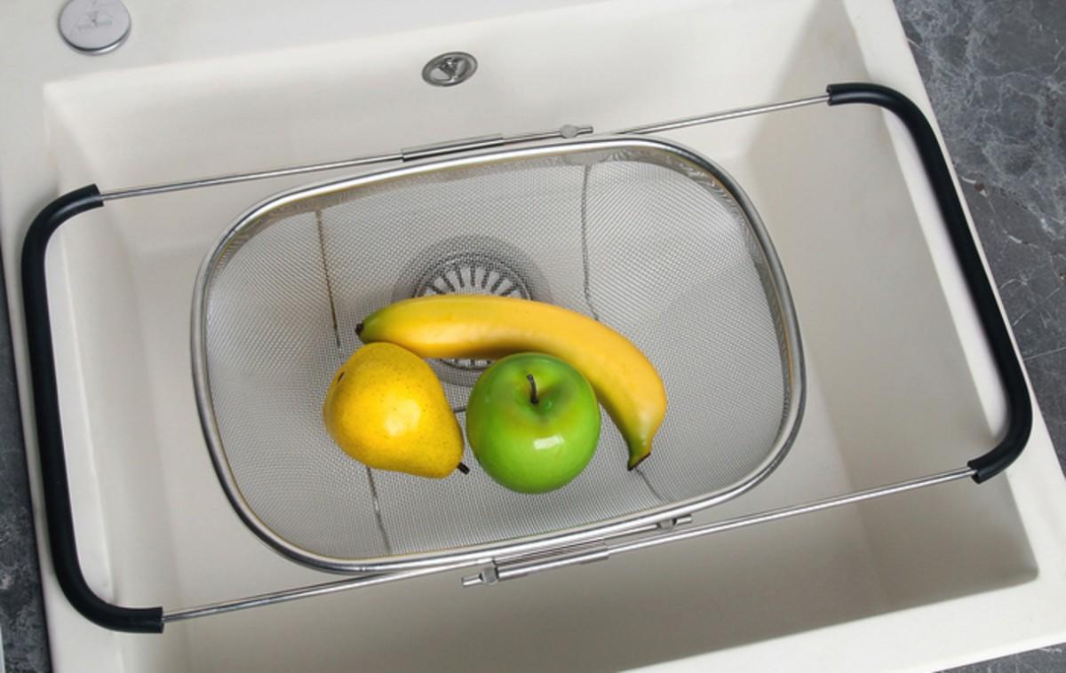 Купить сушилку для фруктов на раковину раздвижную 34 х 26 х 11 см
