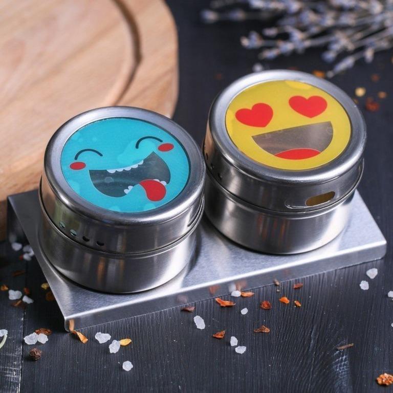 Купить набор банок для специй на магните-подставке Рожицы 2 шт 0,1 л
